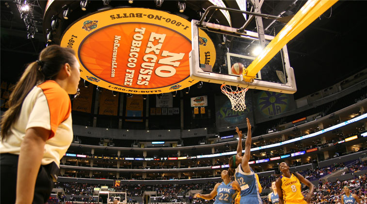 Picture of basketball game in support of LA County Department of Public Health tobacco cessation campaign,